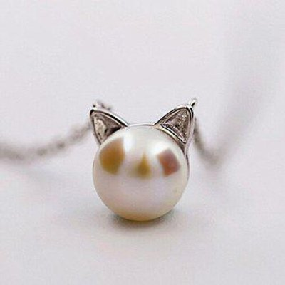 Faux Pearl Kitten Charm Tiny Necklace