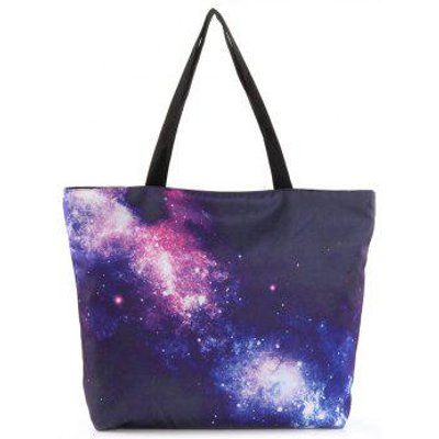 Starry Sky Print Nylon Shopper Bag