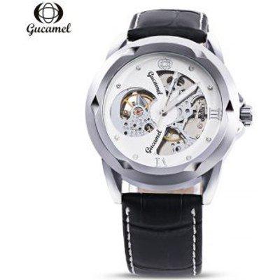 Gucamel G013 Men Auto Mechanical Watch Hollow Dial Luminous Leather Band Wristwatch
