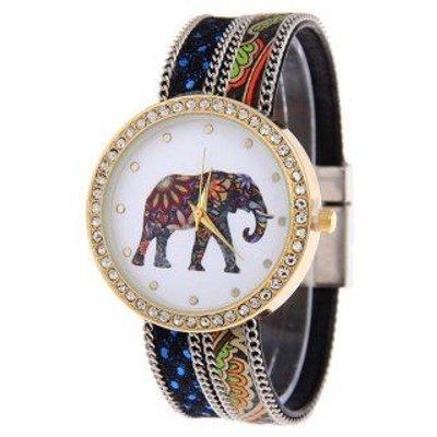 Bohemian Rhinestone Elephant Floral Quartz Watch