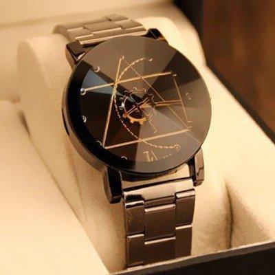 Gear Geometric Quartz Steel Band Watch