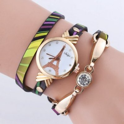 Rhinestone PU Leather Eiffel Tower Bracelet Watch