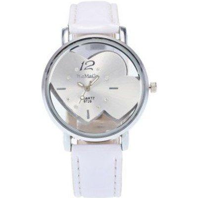 Rhinestone Double Heart Adorn Quartz Watch