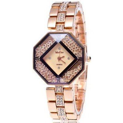 Rhinestoned Geometric Dial Plate Watch