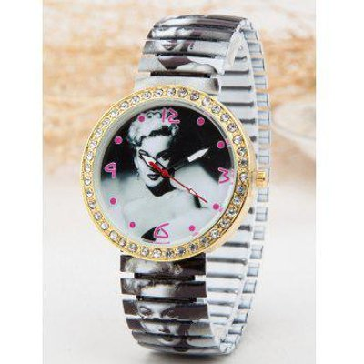 Rhinestone Marilyn Monroe Print Quartz Watch