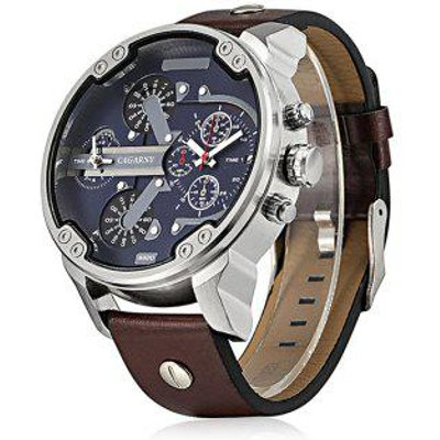 Cagarny 6820 Date Function Male Quartz Watch Double Movt Wristwatch with Decorative Sub-dials Leathe
