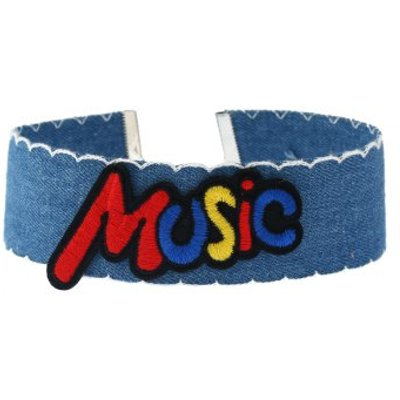 Music Denim Embroidery Choker Necklace