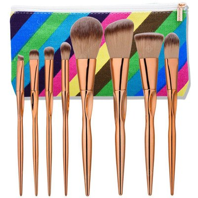 8Pcs Concave Tapered Makeup Brushes Set With Stripes Bag
