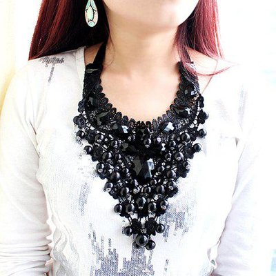 Statement Beads Decorated Openwork Lace Pendant Necklace