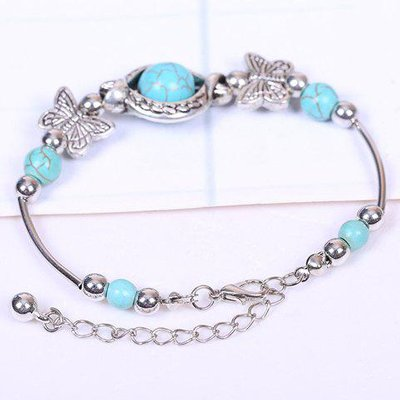 Retro Faux Turquoise Butterfly Bracelet