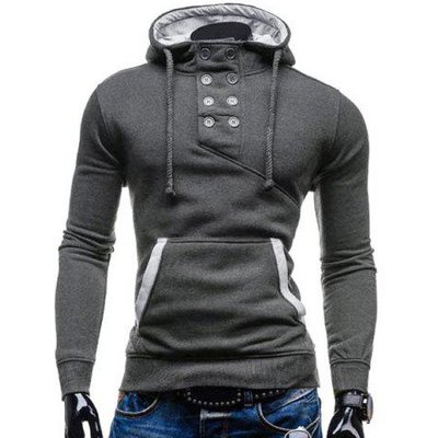 Trendy Hooded Double Breasted Pocket Hemming Slimming Long Sleeve Cotton Blend Hoodie For Men