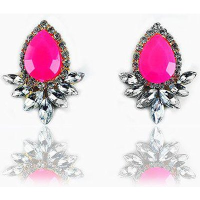 Faux Gemstone Crystal Flower Shape Earrings