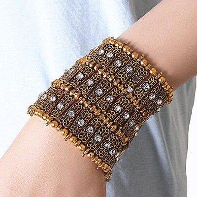 Vintage Rhinestone Beads Alloy Bracelet