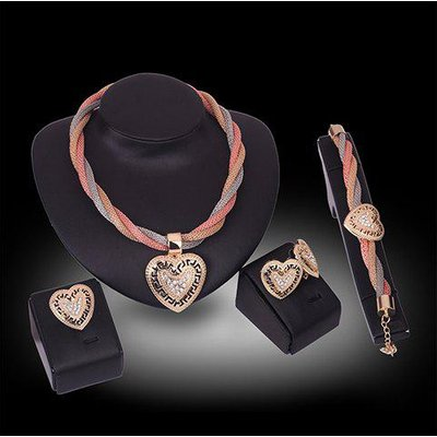 A Suit of Stylish Rhinestone Hollow Out Hearts Necklace Bracelet Ring and Earrings For Women