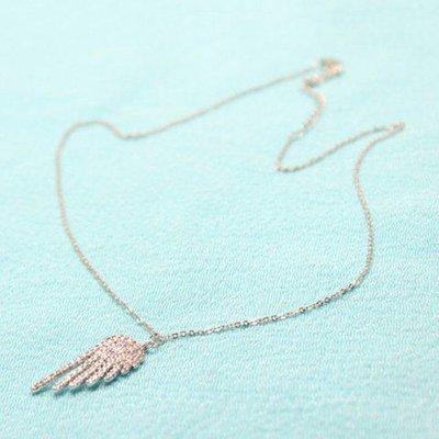 Shiny Rhinestone Angel Wing Necklace