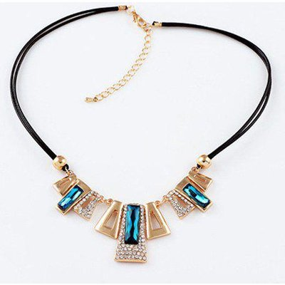 Faux Gem Rhinestone Trapezoid Pendant Necklace