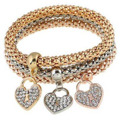 3 PCS Brief Rhinestoned Heart Bracelets