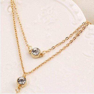 Alloy Rhinestone Pendant Layered Necklace