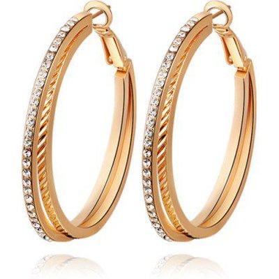Pair of Rhinestones Layered Hoop Earrings