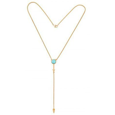 Faux Turquoise Circle Geometric Pendant Necklace