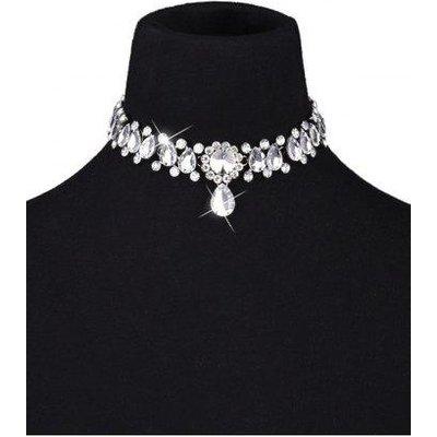 Artificial Crystal Gem Water Drop Choker Necklace