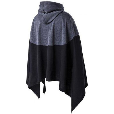 Irregular Cutting Hooded Color Block Splicing Cloak Style Hoodie