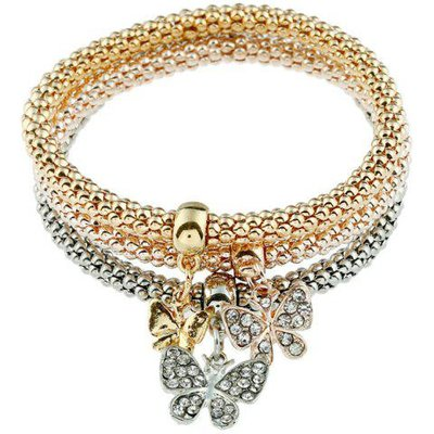 3PCS Rhinestone Butterfly Charm Bracelets