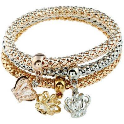 3PCS Rhinestone Crown Charm Bracelets