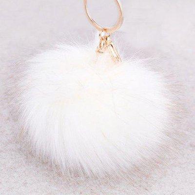 Round Fuzzy Ball Keyring