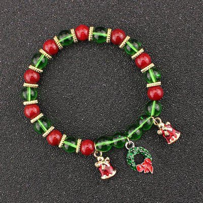 Christmas Bells Garland Charm Beaded Bracelet