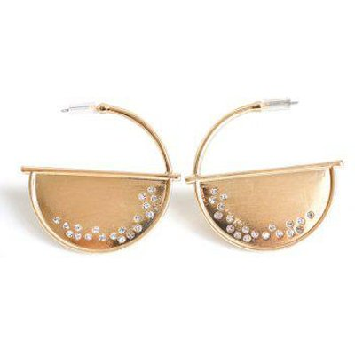 Rhinestone Half Disc Drop Earrings