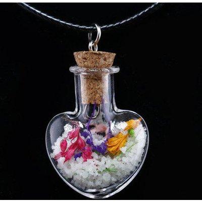 Heart Heady Glass Bottle Pendant Necklace