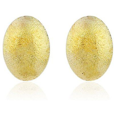 Oval Dull Polish Stud Earrings