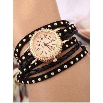 Rivet Studded Layered Bracelet Watch