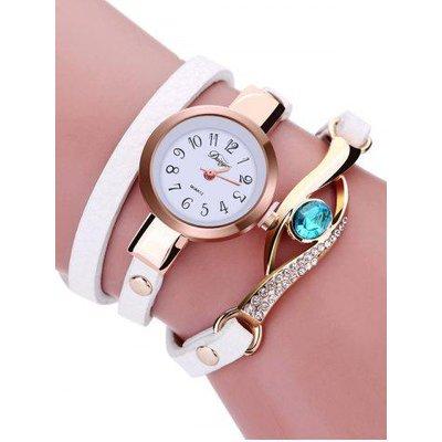 Rhinestone PU Leather Quartz Bracelet Watch