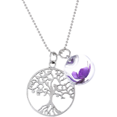 Glass Dry Flower Life Tree Necklace