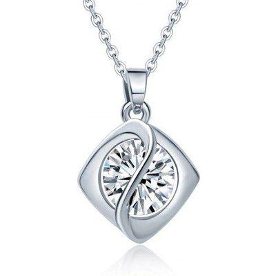 Faux Diamond Rhombus Pendant Necklace