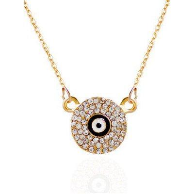 Rhinestone Round Eye Pendant Necklace