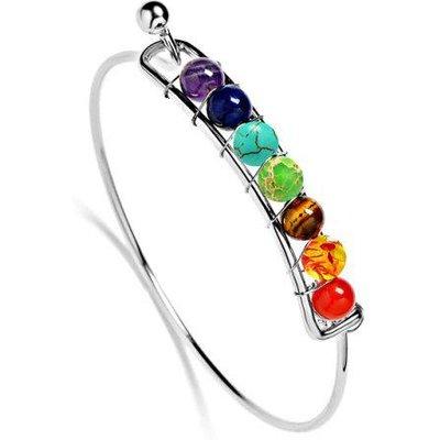 Faux Gem Multicolor Alloy Beaded Bracelet
