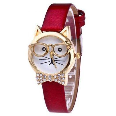 Rhinestone Cat With Glasses Analog Watch