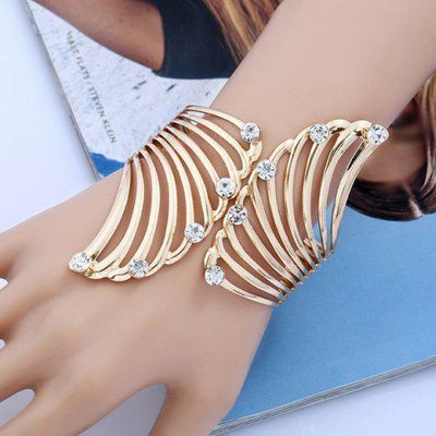 Rhinestone Alloy Angel Wings Bracelet