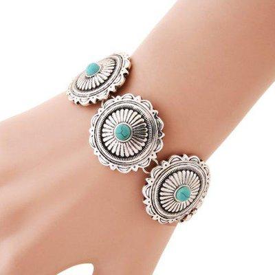 Retro Imitation Turquoise Round Floral Bracelet