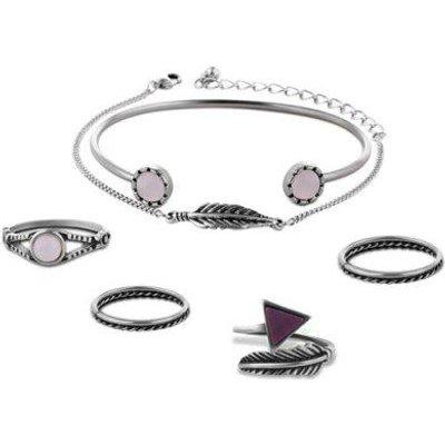 Geometric Leaf Bracelets with Rings