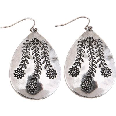 Engraved Flower Leaf Alloy Teardrop Earrings