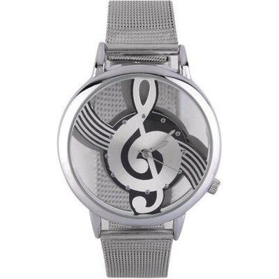 Steel Mesh Band Music Notation Watch