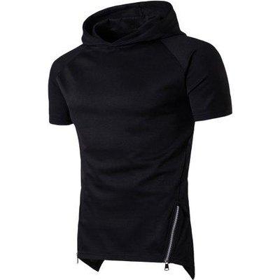 Side Zip Up Longline Short Raglan Sleeve Hoodie