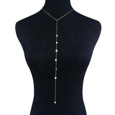 Disc Sequins Y-Shape Long Necklace