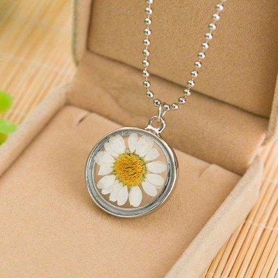 Sunflower Glass Round Pendant Necklace