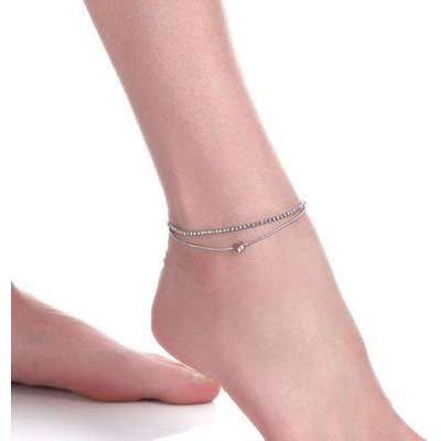 Rhinestone Layered Heart Charm Anklet