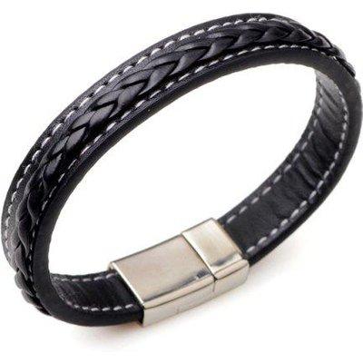 Artificial Leather Braid Titanium Steel Bracelet